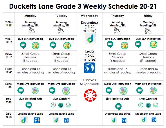 3rd Grade Student Schedule