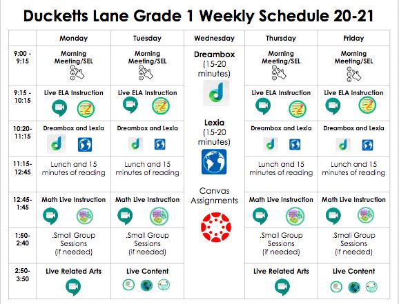1st Grade Student Schedule
