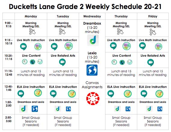 2nd Grade Student Schedule