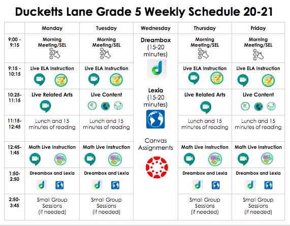 5h Grade Student Schedule