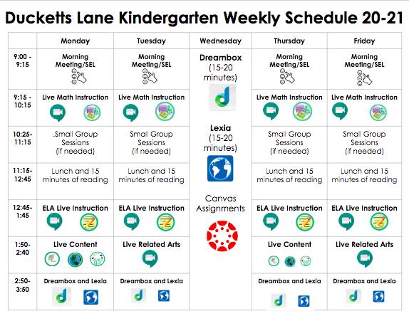 Kindergarten Student Schedule